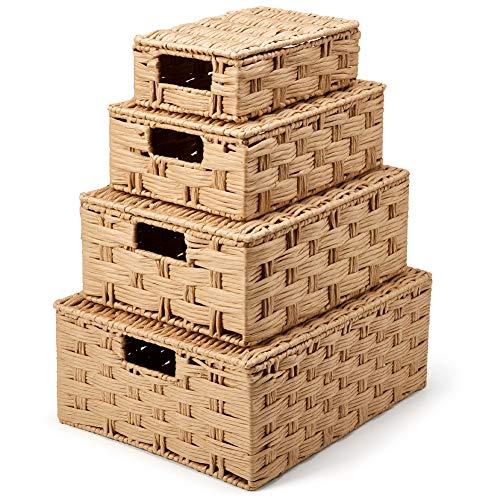 EZOWare Set de 4 Cestas de Almacenaje con Tapa, Cajas Decorativas Contenedores de Papel Retorcido con Efecto de Mimbre Tejida con Asas para Sala de Estar, Habitaciones, Baño, Cocina - Beige