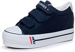 Queena Wheeler Summer Thick-Soled White Canvas Shoes Female with Increased Height Shoes Student Board Shoes Wild Shoes Women
