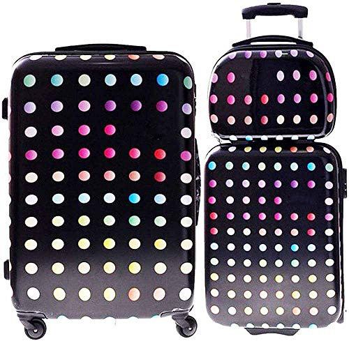 2 Suitcase Covers with Travel Dressing Box-Hand Luggage Compartment ABS Hard Shell dot Pattern,Dot Pattern