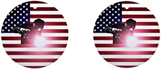 i-zehibho-i Ceramic Round Ornaments (2 Pack) - Welding Welder & American Flag Personalized Custom Handmade Holiday Christmas Ornament Ideas 2019, 2.87