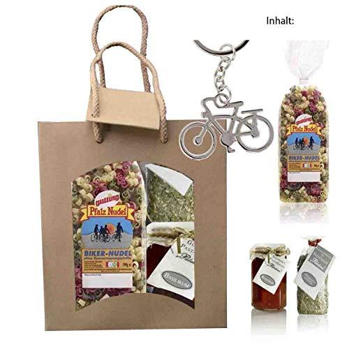 Feinkost-Set Fahrrad mit Nudeln, Sauce, Gewürze und Schlüsselanhänger Fahrrad