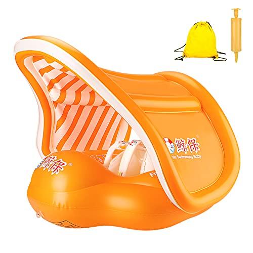 Wikay Anillo de Flotador de bebé Recién Nacido Baño Anillos Seguridad Seguridad Ayuda Flotador Nadar Inflable Flotador Anillo, con Sombrero para el Sol y para Bebé 6-36 Mes Elefante(Naranja)