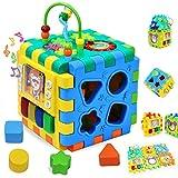 WISHTIME Baby Spielzeug musikalisches Spielzeug Schaukelspielzeug Musikwürfel für Früherziehung mit Licht und Musik,Formsortierer,Kleinkinder Säugling Jungen Mädchen 1- 2 Jahre alt Gesche