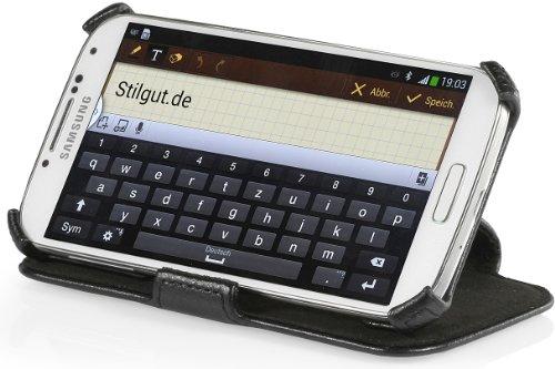 StilGut UltraSlim Case, Tasche mit Standfunktion für Samsung Galaxy S4 i9500 und i9505, Schwarz