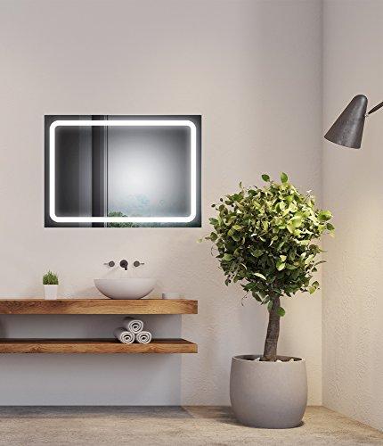 SOGOO® Nouvelle Génération Miroir Lumineux de Salle de Bains Avec Éclairage LED Interrupteur Tactile Avec Fonction Mémoire, Lumière Blanche Naturelle 6500K (L80 x H60cm)