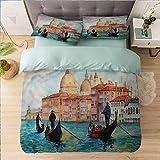 Aishare Store - Juego de funda de edredón para cama de California King, Venecia, acuarela Serene City, ultra suave y fácil de cuidar, transpirable, estilo simple y acogedor, juego de cama