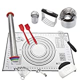 NASNAIOLL 11 Pcs Baking Set,Pastry Cutter Cooking Set:Silicone Baking Mat,Rolling Pin, Dough Blender, Biscuit Cutter, Pastry Scraper, Measuring Spoon, Egg Separator, Pastry Brush, Spatulas,Whisk
