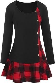 Abito Donna T-Shirt a Maniche Lunghe Camicetta Elegante Bottoni Patchwork Plaid Stampa a Quadri Abito Pieghettato Orlo Tun...