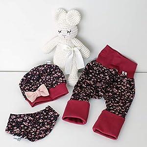 ANGEBOT Set – Hose, Schleifenmütze, Halstuch – Schwarz Blümchen (purpur) Schleife Rose – Baby Mädchen