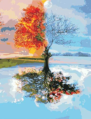 VIKMARI Kit de pintura por números para adultos, árbol de