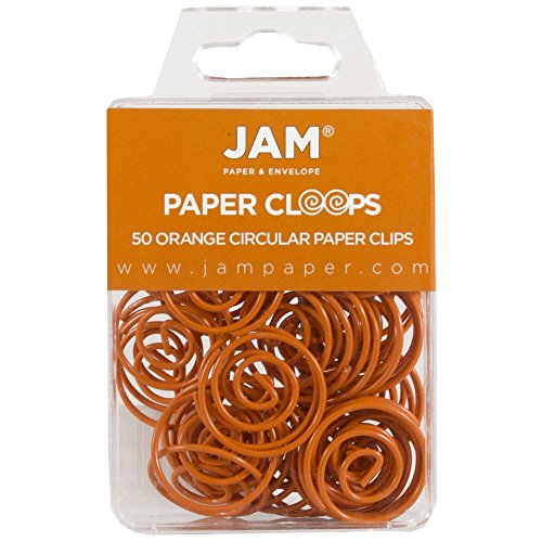 JAM PAPER Circular Paper Clips - Round Paperclips - Orange - 50/Pack