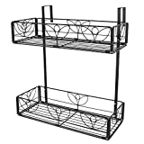 AmnoAmno 2-Tier Balcony Hanging Flower Rack Railing Planter Pots for Outside, Deck Box Outdoor Hanger Stand with Strong Metal Folding Design Easy Installation (Black)