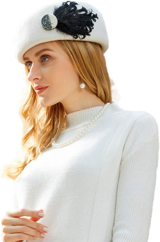 Nafanio Women's Winter Beret Hats with Feather Sweet Cute Wool Top Hat Wild Winter Wool Fascinators for Party Wedding