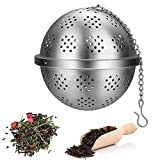 Tea Strainer Diffuser, Tea Infusers for Loose Tea, Stainless Steel Mesh Tea Ball Infusers, Tea Steeper Filter with Extended Chain Hook for Loose Leaf Tea, Seasoning, Coffee, Spices (Large)
