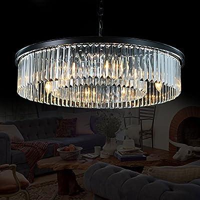 "MEELIGHTING Gold Plated Luxury Modern Crystal Chandelier Lighting Contemporary Raindrop Chandeliers Pendant Ceiling Lights Fixture for Dining Room Living Room Hotel Bedroom W21.6"""