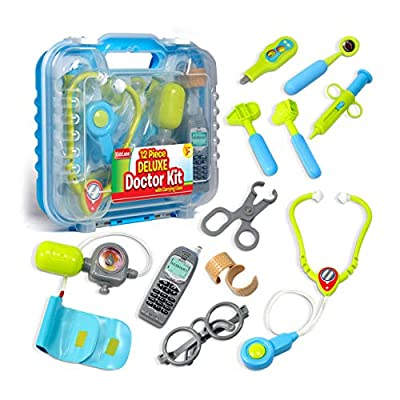 Durable Kids Doctor Kit with Electronic Stethoscope and 12 Medical Doctor's Equipment, Packed in a Sturdy Gift Case by Kidzlane