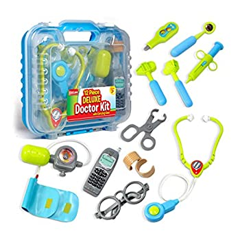 Durable Kids Doctor Kit with Electronic Stethoscope and 12 Medical Doctor s Equipment Packed in a Sturdy Gift Case