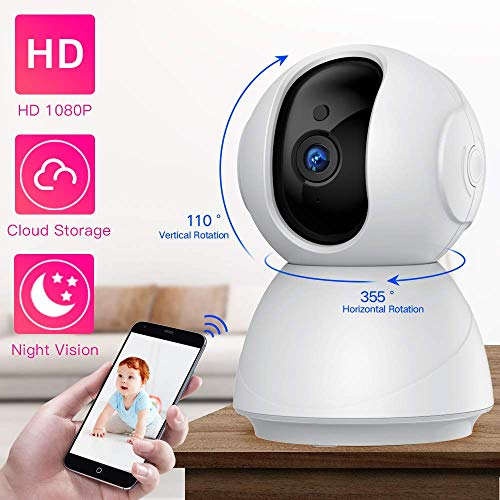 LKFTH Cámara IP WiFi 1080P FHD Cámara de Seguridad Interior Baby Monitor Pet Camera, Botón de Llamada Inversa, con Visión Nocturna, Detección de Movimiento, Audio Didireccional, Blanco