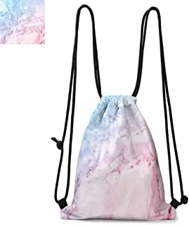 Marble Printed Drawstring Backpack Pastel Toned Cloudy Hazy Crack Lines Stained Antique Shabby Chic Design Suitable for School or Travel W13.4 x L8.3 Inch Light Blue Baby Pink