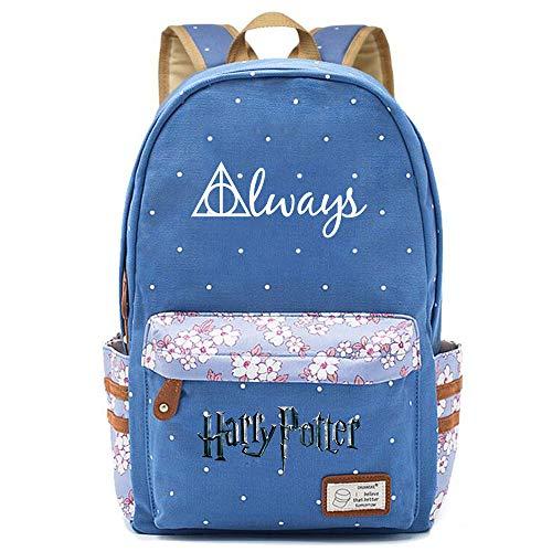 NYLY Chicas Mochila Floral Mujeres Moda de Compras de Viaje Mochila portátil Casual Daypacks, Harry Potter Las Reliquias de la Muerte Bolsa de Reliquias L (Azul) Estilo-10