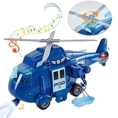 HERSITY Helikopter Spielzeug Hubschrauber KinderSpielzeug mit Licht und Sound Flugzeug mit Bewegliche Rotoren Geschenk für Jungen Kinder, 1:20 Blau