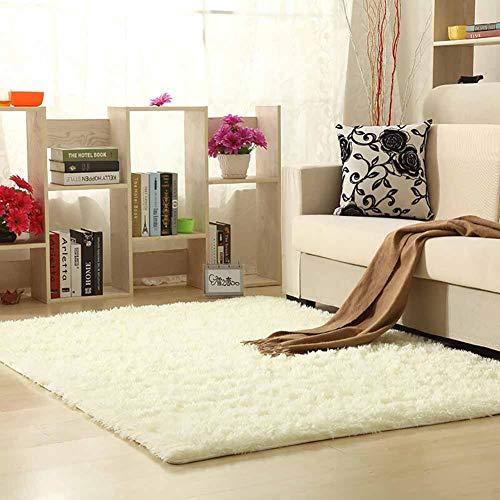 KKLTDI Hochflor Plüsch Teppich Wohnzimmer,seidige Gemütlich Weicher Bettvorleger rutschfest Teppich Langflor Für Wohnzimmer Schlafzimmer Teppich Weiß 100x200cm