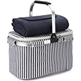21L Cooler Tote Bag with Fleece Picnic Blanket/Waterproof Beach Mat, Collapsible Thermal Lunch Basket Set with Aluminium Handle for Food, Shopping Grocery, Work or Outdoor Hiking Men Woman