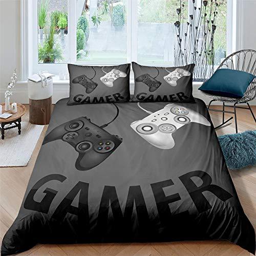 HGFHGD Schwarzes Gamepad 3D-Druck Textil-Bettwäsche-Set für Erwachsene, Studenten, Bettbezug, groß, extra groß