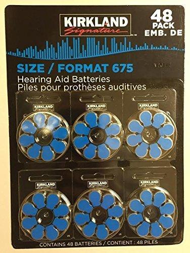 Kirkland Signature Premium Quality Hearing Aid Batteries 48 pack 1.45 Volt Mercury Free Various Sizes (Size 675)