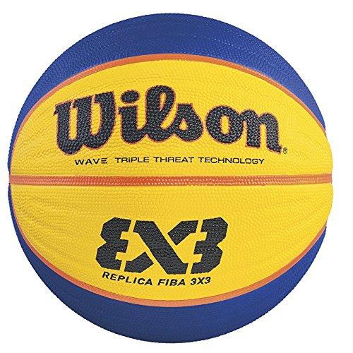 Wilson Outdoor-Basketball, Rauer Untergrund, Asphalt, Granulat, Kunststoffboden, Größe 6,  8 bis 12 Jahre, Hyper Shot I, Schwarz/ Gelb