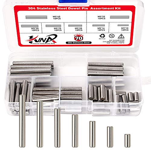 304 Stainless Steel Dowel Pin Shelf Support Pin Assortment Kit Fasten Elements Stainless Steel Cylindrical Pin Locating Dowel Support,70PCS