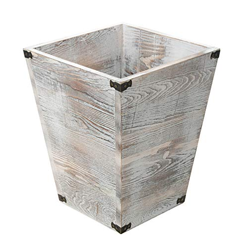 Liry Products Rustic Whitewashed Torched Wood Square Waste Basket Recycle Bin Trash Can Decorative Metal Brackets Whitewashed Wooden Garbage Container Ash Holder Bedroom Living Room Home Office