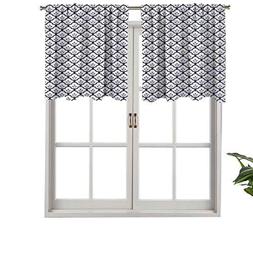 Hiiiman Elegante cenefas de cortina con bolsillo para barra, color azul, patrón tradicional Delftware, juego de 2, 106,7 x 60,9 cm, decoración del hogar para habitación de niños y niñas