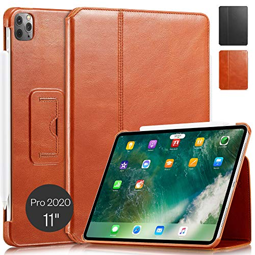 KAVAJ Case Leather Cover'Berlin' works with Apple iPad Pro 11' 2020 Cognac-Brown Genuine Cowhide Leather with Built-in Stand Auto Wake/Sleep Function. Slim Fit Smart Folio Covers