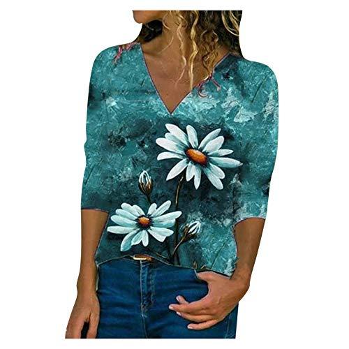 YANFANG Blusa con Estampado Floral,Camisa Elegante para Negocios Camisa OtoñO Verano Informal, Media Manga Mujer,Verde,Azul,S,M,L,XL,XXL