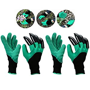Garden Genie Gloves with Fingertips Uniex Right Claws Quick & Easy to Dig and Plant Safe for Rose Pruning