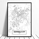 Leinwanddruck,Guatemala City Schwarz Weiß