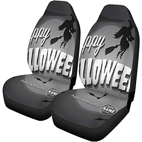 Beth-D autostoelhoezen voor autostoelen, smal, retro, Frohe Halloween, vintage, heks, set met 2 automatische beschermhoezen, autoaccessoires