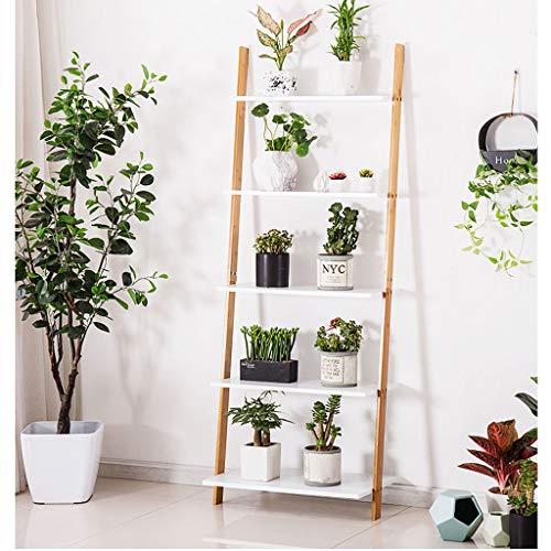 Bloemstandaard Bamboe Ladder Plant, Boekenkast Met 5-Tiers, Stand Rack, Wandplank, Opslagrek Natuurlijke Bamboe Display Plank (W:43/53/63cm)