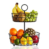 2 Tier Fruit Basket – Regal Trunk & Co. Wire Fruit Bowl or Produce Holder | Two Tier Fruit Basket Stand for Storing & Organizing Vegetables, Eggs, etc | Fruit Basket for Counter or Hanging (2 Tier)