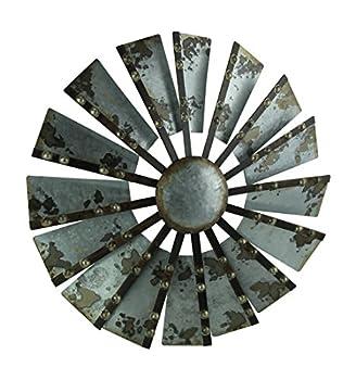 Zeckos Antiqued Galvanized Metal Windmill Wall Hanging 21 Inch Diameter