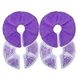 Almohadillas de Lactancia, 2 Piezas Almohadillas Terapia Mama Almohadillas Térmicas de Gel Reutilizables para Uso en Frío y Calor para Madres Lactantes Diámetro 17cm/6.7in (Purple)