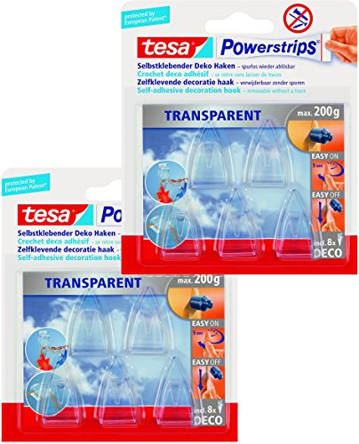 tesa Powerstrips Deco-Haken, transparent, für max. 200g, 2 Packung mit gesamt 10 Haken