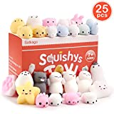 Satkago 25 Pcs Mini Mochi Squishies Toys, Mochi Squishy Toy Stress Reliever Toys Party Favors for Kids Boys Girls
