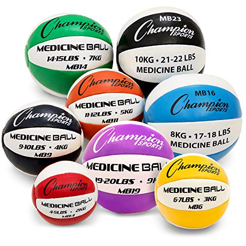 Champion Sports Exercise Medicine Balls, 17-18 lbs, Leather with No-Slip Grip - Weighted Med Ball Set for Weight Training, Stability, Plyometrics, Cross Training, Core Strength - Heavy Workout Ball