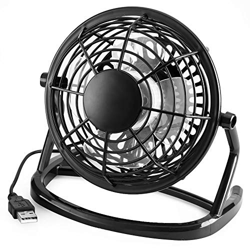 HS-01 USB-mini-desktop kantoorventilator met 360 rotatie - zwart voor PC computer laptop, USB 4-inch slaap fan HS-01