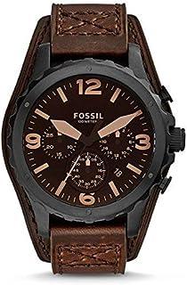 ساعة فوسيل نايت للرجال بمينا بني وبسوار جلدي كرونوغراف - JR1511