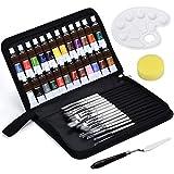 Juego de Pinceles para Pintura Acrilica - 24 Pintura Acrílica con 18 Set de Pinceles Profesional Para Acuarela, Temperas, Pintura Facial, Conjunto Ideal para Artistas, Adultos y Niños Blanco