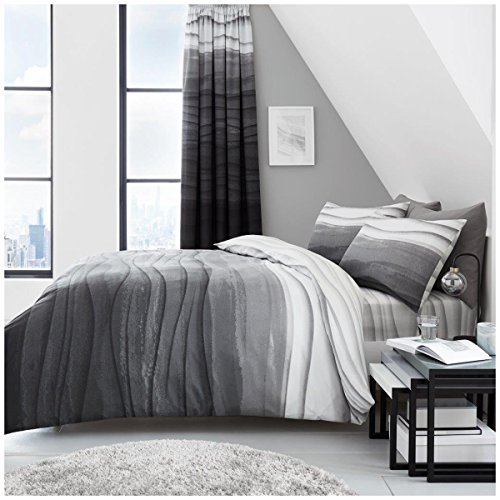 Gaveno Cavailia Luxurious WAVE OMBRE Bed Set with Duvet Cover and Pillow Cases, Polyester-Cotton, Grey, Double