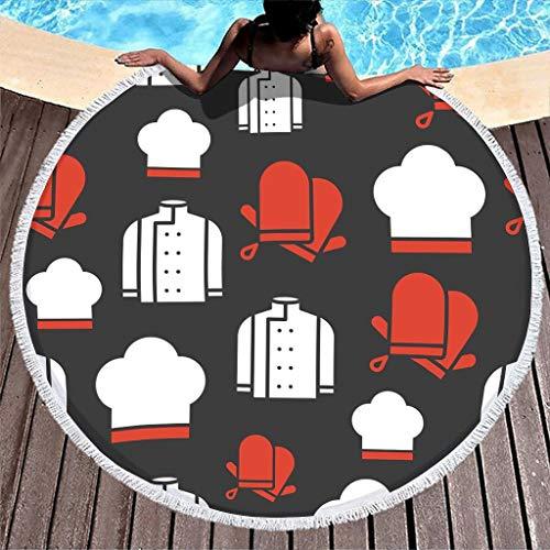 Manta de playa de gran tamaño con franja grande para pícnic gruesa circular, con flecos para niña patinaje en la playa, toalla súper suave, súper absorbente, multiusos, longitud 122 cm.